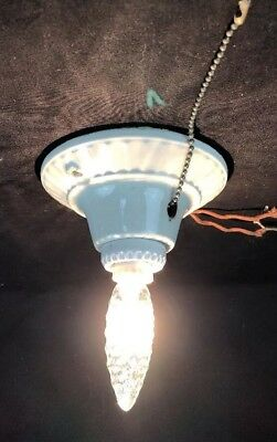VINTAGE PORCELAIN CEILING Light Fixture Pull Chain Rewired - $34.99 ...