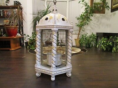 Vintage French Faience Porcelain Ceramic Pink Hanging Bird Cage
