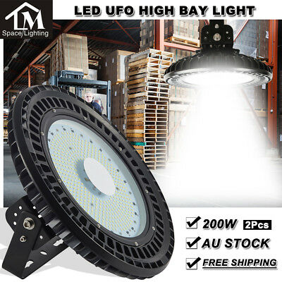 2X 250W LED UFO High Bay Light Warehouse Industrial Factory Gym Shed Lamp 240V
