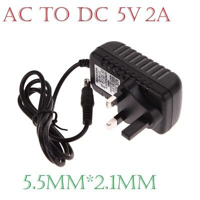 Universal 5V 2A AC/DC 5.5 x 2.1mm UK Plug Power Supply Adapter Converter Charger