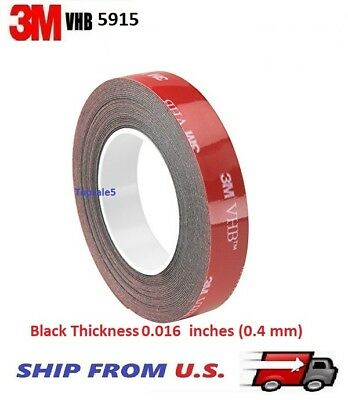 "3 3M 5925 BLACK VHB .025/"" DOUBLE STICK FOAM TAPE 8/"" X 12/"" SHEETS"