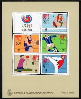 MACAO MNH 1988 MS678 Olympic Games Minisheet