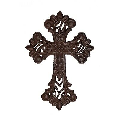 Ornate hanging Wall CROSS  7 x 10 x 0.38  cast iron vintage antique style décor