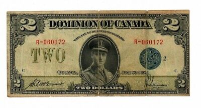 1923 Dominion Of Canada 2 Dollars Bank Note Saunders