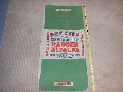 Vintage Feed Seed Sack Bag Key City Ranger Alfalfa Dubuque,iowa.