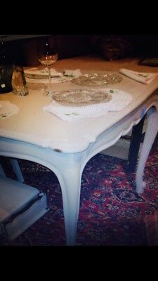 "Table French Provencal Style Painted White 72""L Plus 2 Leaves16"" $6,500"