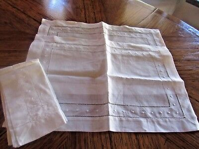 """2 Vintage Embroidered All White Linen Placemats with matching napkins 10"""" x 13.5"""
