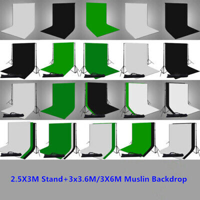 3x3.6m/3x6m Photography Studio Cotton Green Black White Backdrop+Stand Kit