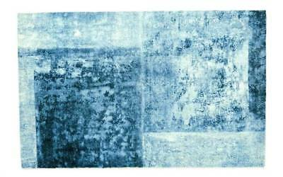 West Elm Distressed Rococo Wool Rug Blue Lagoon 6x9