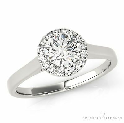 0.82 Ct D/SI2 Natural DIAMOND Halo Engagement Ring Round Cut 14K White Gold
