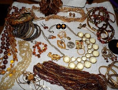 """VINTAGE Mixed Lot Of Jewelry """"CITRINE, TOPAZ"""" Mamselle, Crown, Denmark Huge Lot"""