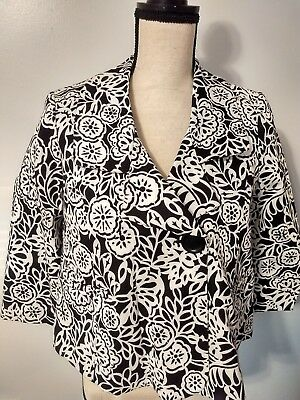 Mimi Maternity Small Blazer Career Suit Jacket Black and White Floral 3/4 Sleeve