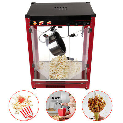 1370W 8oz Tempered Glass Popcorn Maker Machine  Red Bar Table Aluminum Alloy