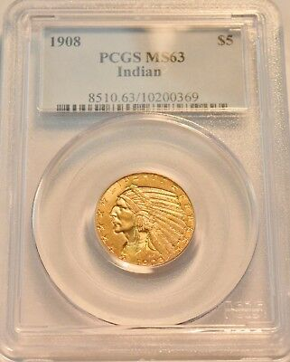 1908 $5 PCGS MS 63 Gold Indian Half Eagle, PQ Looking Five Dollar Original Coin