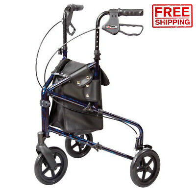 Trio 3 Wheel Rolling Walker Rollator Additional Durable Storage Bag With Pockets