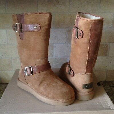 e904464ad0a Ugg Sutter Toast Water-Resistant Suede Fur Buckle Short Boots Size Us 5  Womens