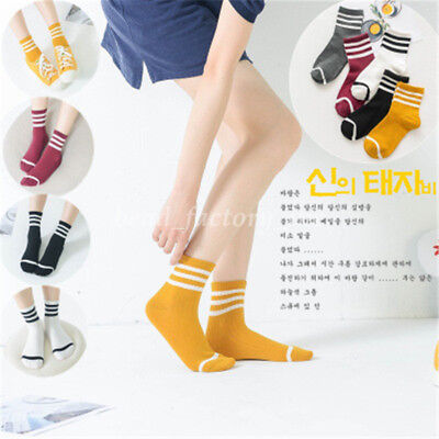 1Pair Girls Womens Striped Cotton Socks Warm Casual Sport Ankle Sock 5 Colors