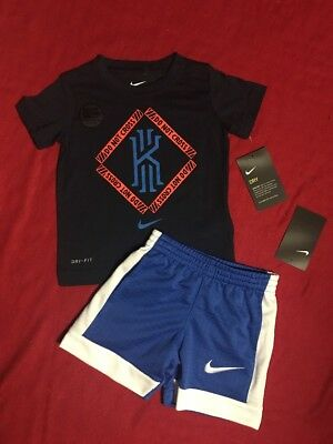 363f4fea9d Nike Toddler Boys 2Pc Outfit Dri-Fit Cotton SS Kyrie T- Shirts Shorts Sz