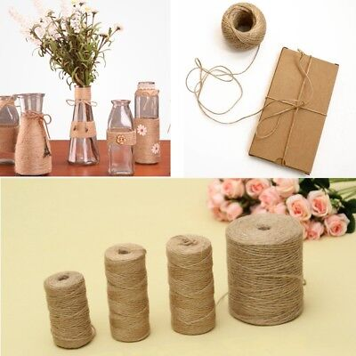 3Ply 1m-1000m Natural Brown Soft Jute Twine Sisal String Rustic Shabby Cord DIY