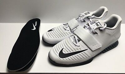 Mens New Nike Romaleos 3 Weightlifting White Black 852933-100 Size 14  Crossfit 786b16fc9b76
