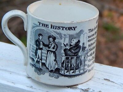 Antique CHILD'S MUG 'The History of The House That Jack Built' 1840s Cup RHYMES