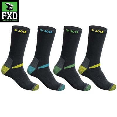 New! Fxd 4 Pack Long Work Socks Assorted Colours