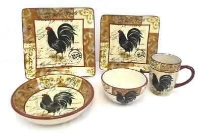 PLACE SETTING 5 Pcs Certified International Tuscan Rooster GOLD ...
