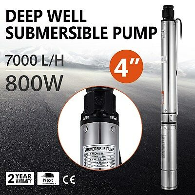 "0.8KW Submersible Deep Well Pump 4"" Garden Watering Water Farm Ranch Bore Hole"