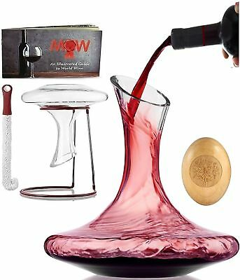 Wine Decanter Aerator Set - with Wood Stopper + Cleaning Brush  Drying Stand |