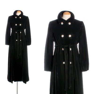 Designer Vntg Malcolm Starr Dress Coat 1960s Black Velvet Full Length Rhinestone