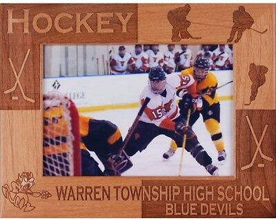 Hockey Customizable Engraved Alderwood Picture Frame in 4 sizes #spr0070-1