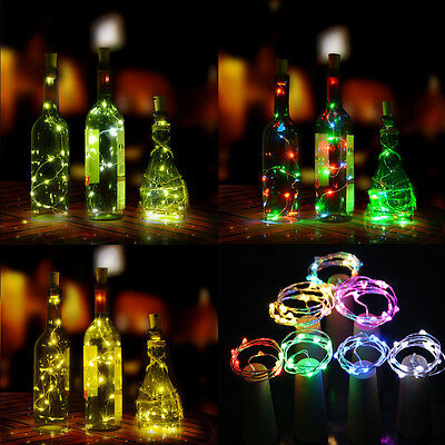 1M 10 LED Cork Shape String Fairy Night Light Wine Bottle Lamp Battery Solar