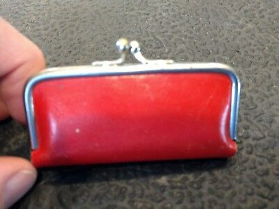 Vintage Red Leather Snap Coin Purse Type for Sewing, Rain Hat, etc. - Germany