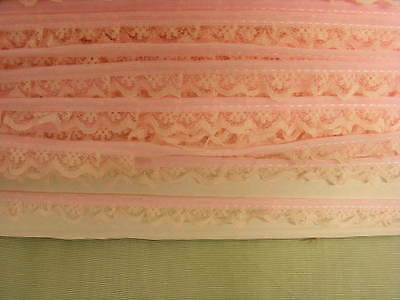 Gathered Narrow  Pink Lace  x 10 mts (134) Second
