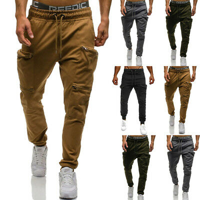 USA Mens Long Casual Sports Pants Gym Slim Fit Trousers Pencil Jogger Sweatpants
