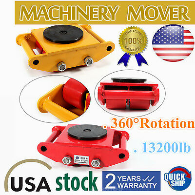 Industrial Machinery Mover with 360 Rotation-6-Ton/13,200Lb.Capacity,4-Rollers