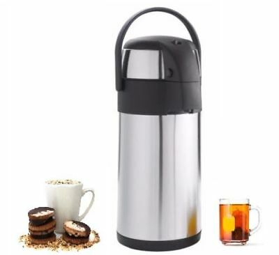 5L /3 Litre Pump Action Airpot Vacuum Flask Thermos Jug Air Pot Steel Inside/Out