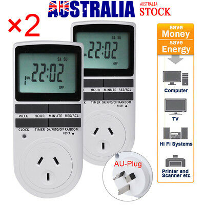 2Pcs Digital Electronic Power Timer Switch Socket With Clock AU Plug LED Display