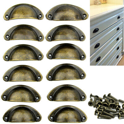 12X Antique Vintage Shell Kitchen Cupboard Door Cabinet Knob Drawer Pull Handles