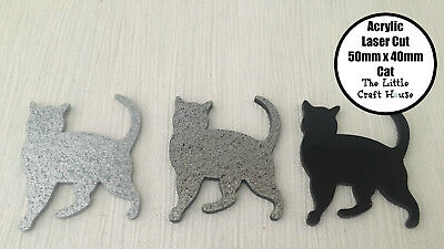 Acrylic Laser Cut Coloured Cat Shape 50mm x 40mm Cats Animal Shapes Craft DIY