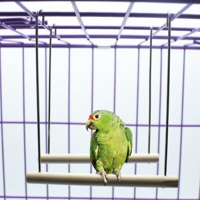 Natural Wooden Birds Perch Parrots Hanging Swing Cage Pendant Toys Stand Holder