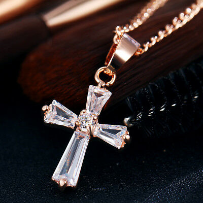 Luxury Sparkling Silver / Rose Gold Faith Hope Love CZ Crystal Pendant Necklace
