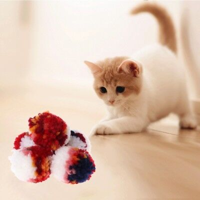 5pcs Cat Toys Colorful Plush Wool Ball Dog Puppy Kitten Chew Interactive Scratch