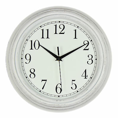 Hometime Wall Clock Deep Case White with Rim Vintage Style 25cm