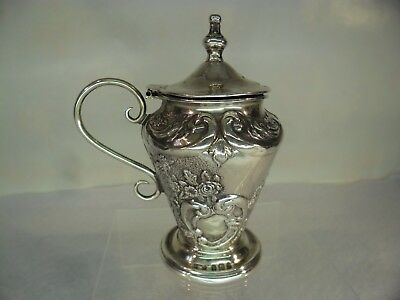Ornate Embossed Solid Silver Mustard Pot, B'ham 1905 a/f