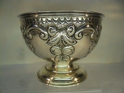Embossed Solid Silver Fruits & Flowers Bowl, B'ham 1907