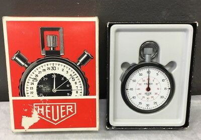 Vintage Tag Heuer 7 Jewel Swiss Stop Watch In Original Box Works