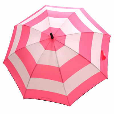 New Victorias Secret Large Pink White Signature Stripes Long Handle Umbrella