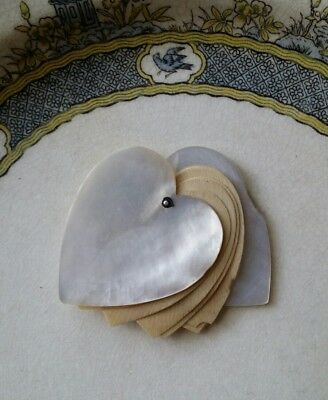 Victorian Heart Shape Mother of Pearl Dance Card Notebook Chatelaine Object