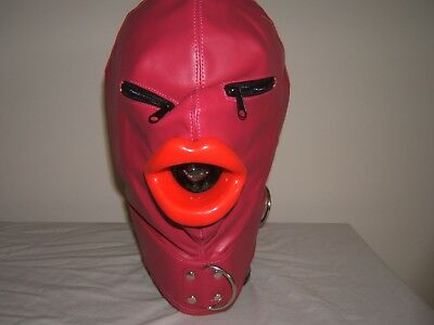 Pink leather Gimp mask with Latex sissy lips in Red, Black or Pink Zips on eyes.